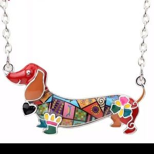 Jewelry - Dachshund enameled sculptured metal necklace